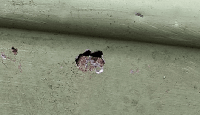 hole in colorbond roof